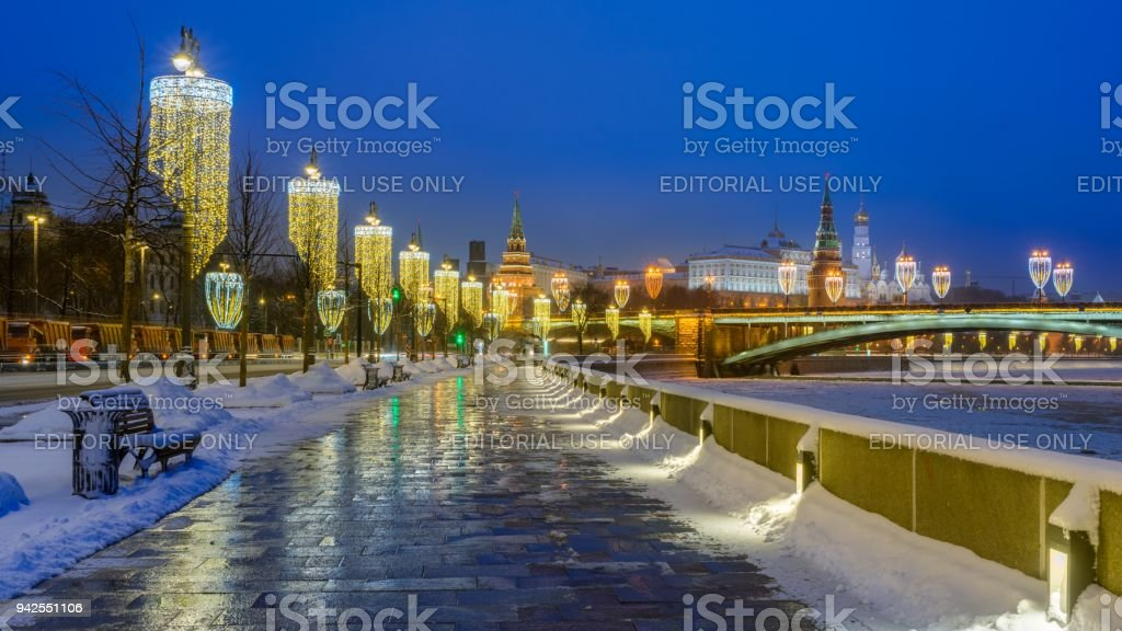 Winter morning on the Kremlin embankment and the Moscow Kremlin stock photo