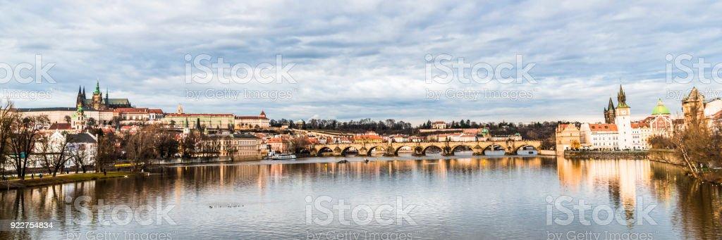 Winter morning on the Vltava river stock photo