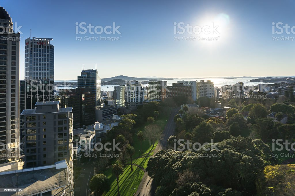 Winter Morning Sun on Auckland, New Zealand stock photo
