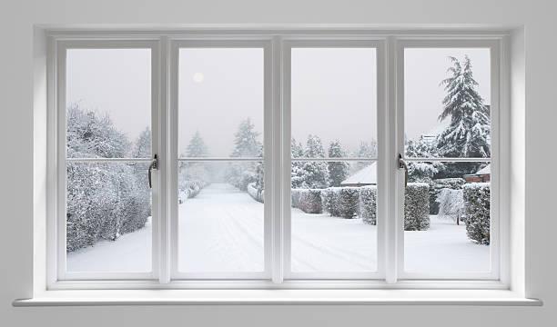 winter morning through white windows stock photo