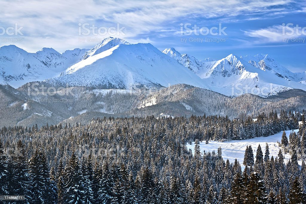 Winter morning view of the Tatra Mountains stock photo