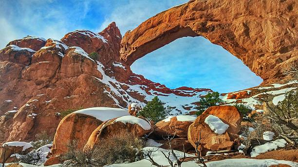 Winter Morning,Snow, Windows Spectacles Arch, Arches National Park, Utah stock photo