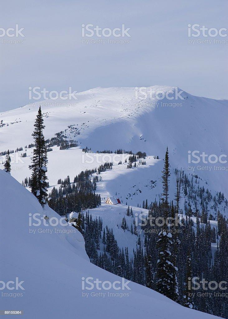 Winter Mounatin Scenic with Ski Lodge Selkirk Mountains Canada royalty-free stock photo