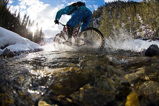 Winter Mountain Bike Creek Crossing - Photo