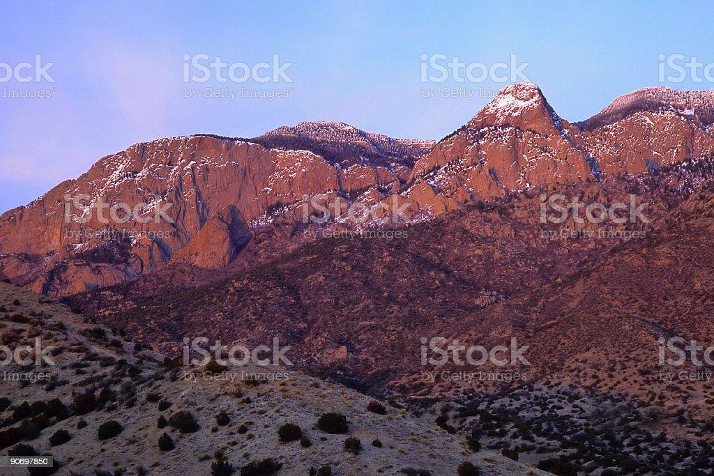 winter mountain desert sunset stock photo