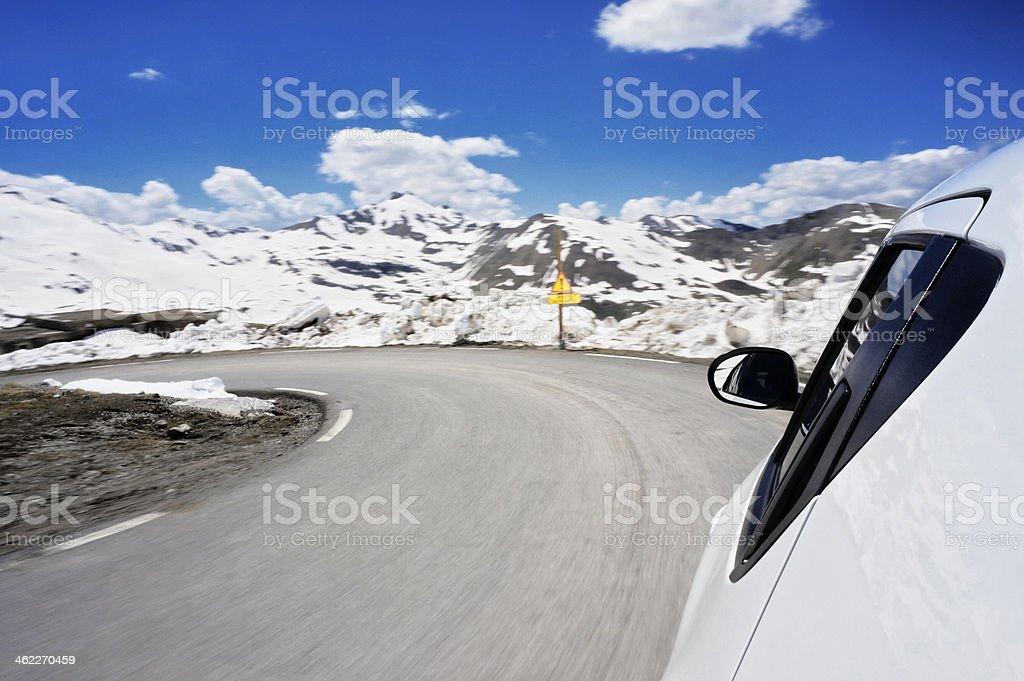 Winter mountain drive stock photo