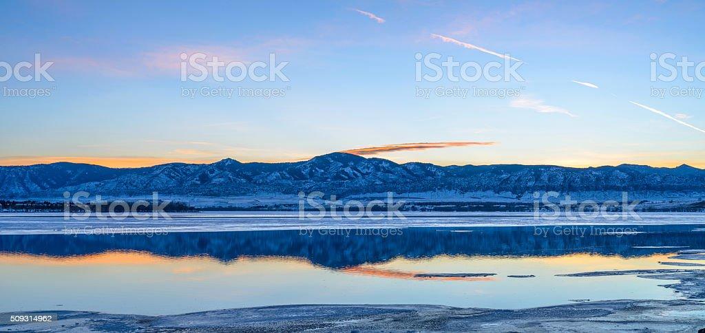 Winter Mountain Lake stock photo