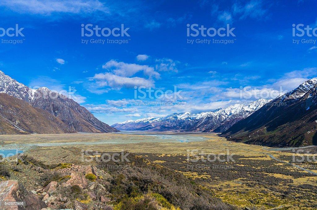 Winter mountain landscape stock photo