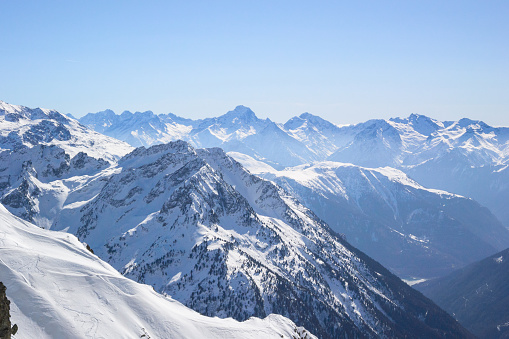 Snow covered landscape in the French Alps