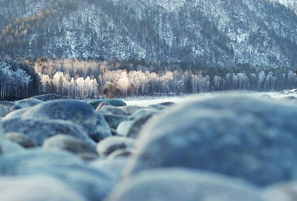Winter mountain landscape. Winter forest. Winter river. Magic winter landscape. stock photo