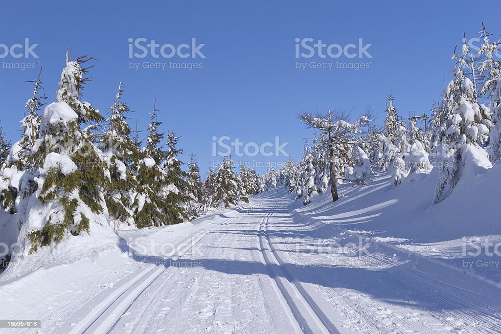 Winter mountain landscape with cross country skiing way. stock photo