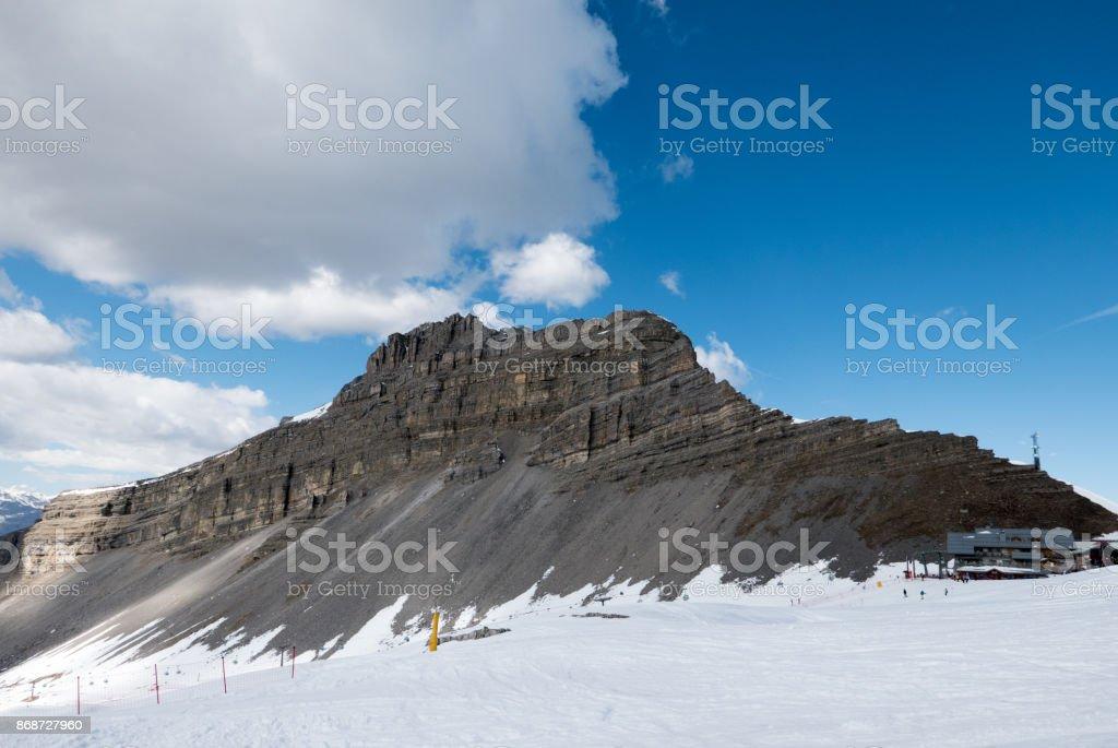 Winter mountain range in popular ski resort Madonna di Campiglio, Italy stock photo