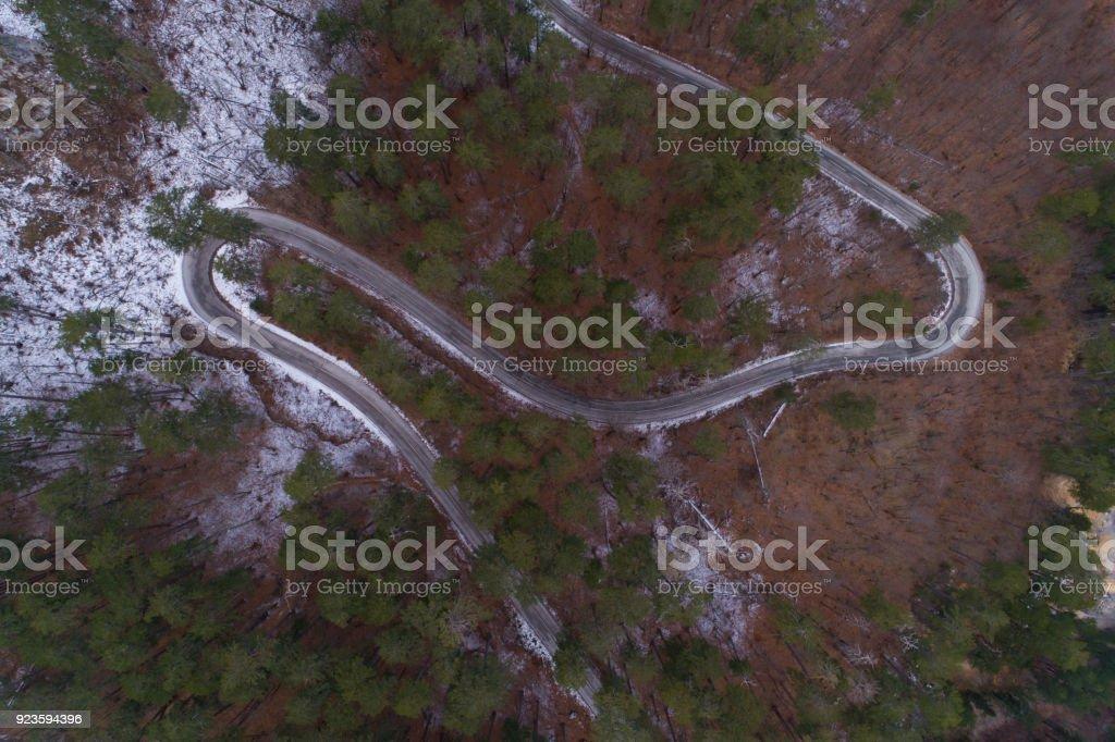 route de montagne hiver Découvre d'en haut - Photo