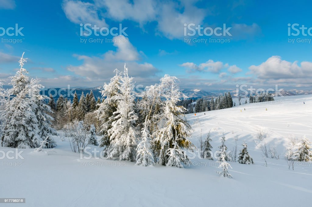 Winter mountain snowy landscape stock photo