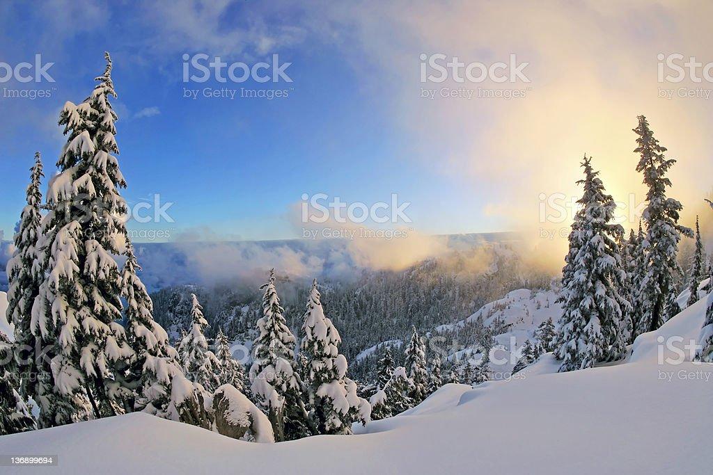 winter mountain sunset stock photo