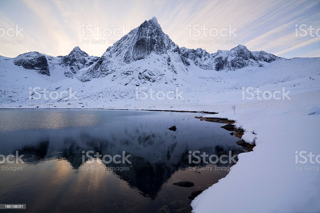Winter Mountain Sunset stock photo
