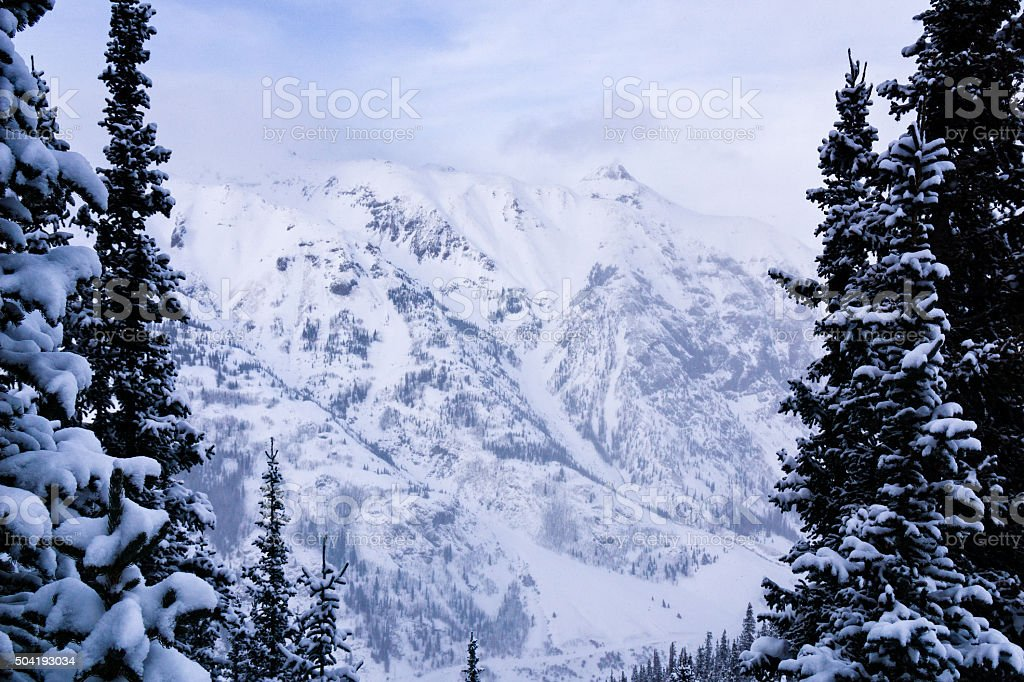 Winter Mountain View Silverton Colorado stock photo
