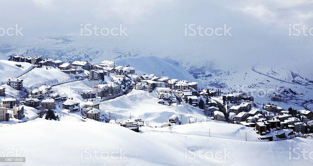 Winter mountain village landscape royalty-free stock photo