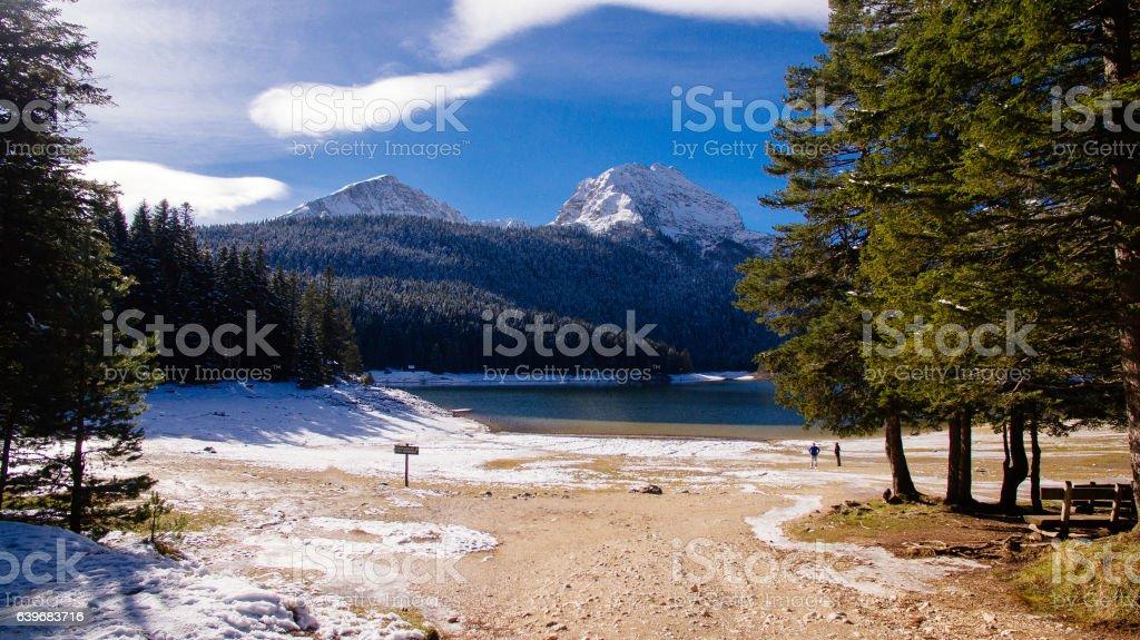 winter mountains and snow lake stock photo