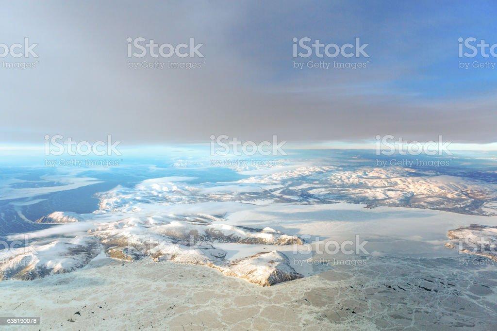 Winter mountains near Sokol Village, Magadan region, Russia – Foto