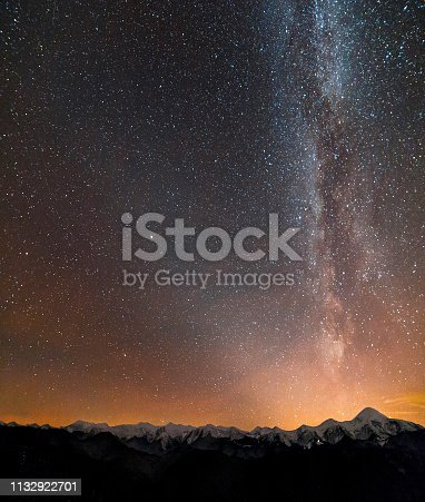 Winter mountains night landscape panorama. Milky Way bright constellation in dark starry sky, soft glow on horizon after sunset, magnificent mountain ridge snow-capped peaks, snowy steep woody hill.