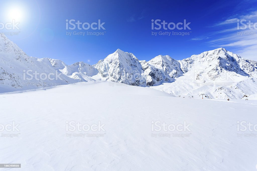 Winter mountains, panorama. stock photo