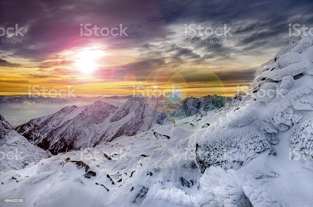 Winter mountains scenic view with frozen snow and icing stock photo