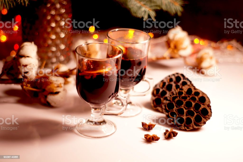 Winter mulled wine for two people Christmas mulled wine. Holiday...