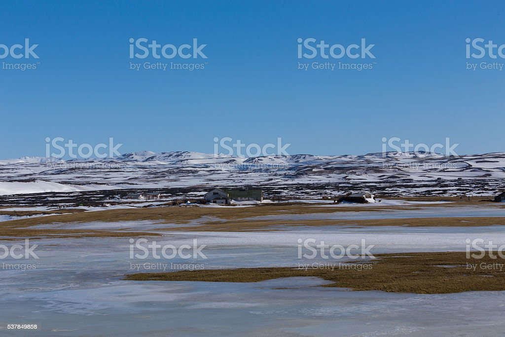 Winter natural landscape with mountain background stock photo