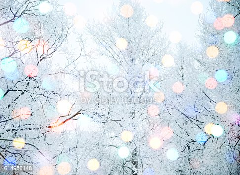 istock winter nature and Christmas light 614958148