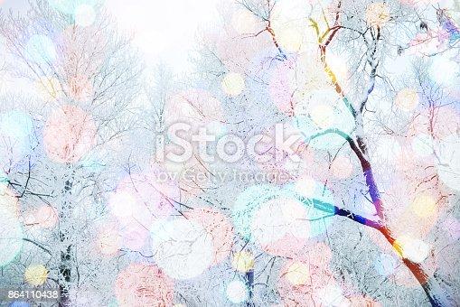 istock Winter nature and Christmas light 864110438