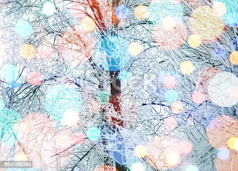 istock Winter nature and Christmas light 864186094