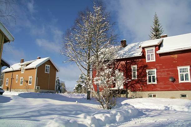 Winter neighborhood stock photo