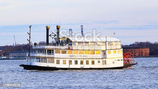 New York City, NY, USA - February 17, 2019: Tourboat Queen of Hearts at New York Harbor, New York City