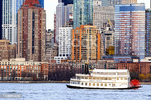 New York City, NY, USA - February 17, 2019: Tourboat Queen of Hearts at New York Harbor, New York City