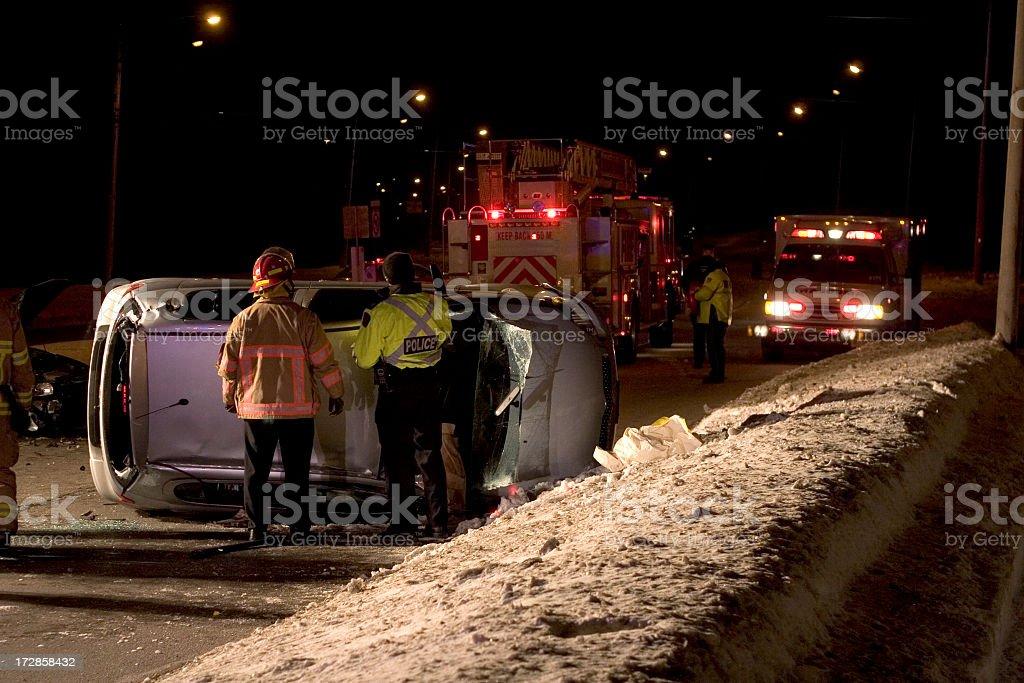 Winter Night Crash stock photo