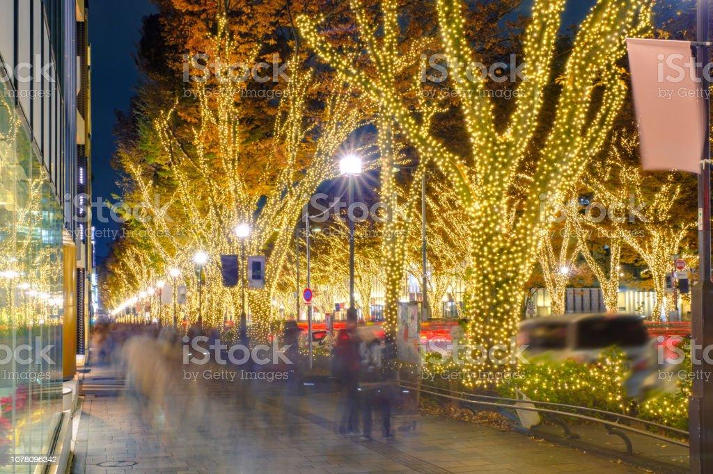 東京表参道の冬の夜のイルミネーション - お祝いのロイヤリティフリーストックフォト