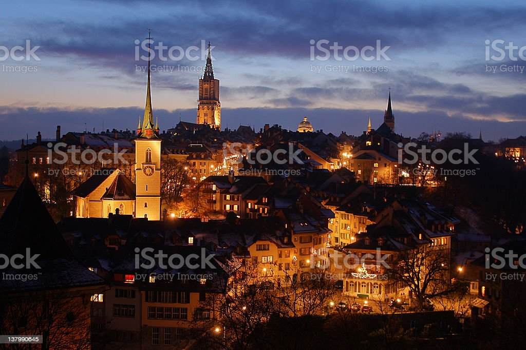 Winter night in Bern, Switzerland stock photo