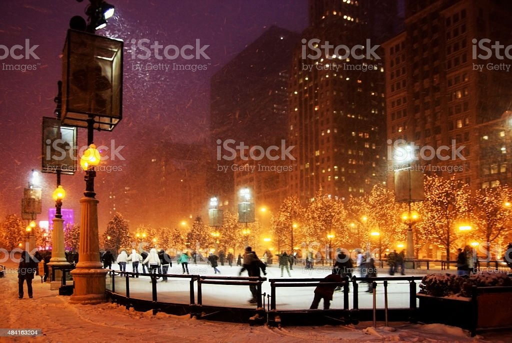 Winter night in Chicago stock photo