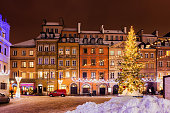 istock Winter Night In City Of Warsaw During Christmas Holiday 1211178778