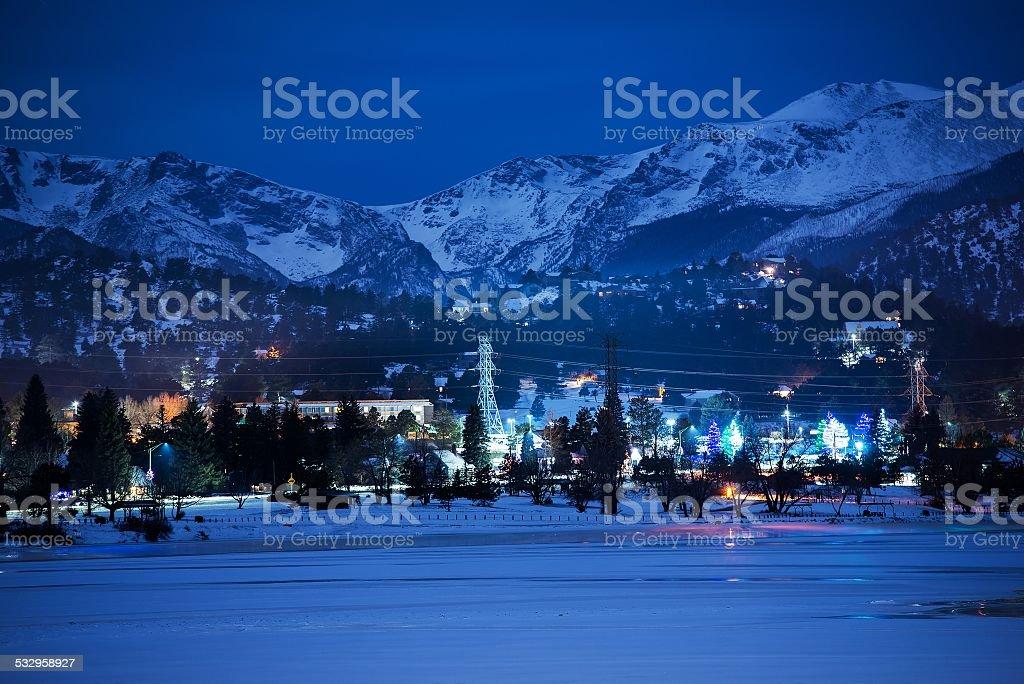 Winter Night in Estes Park stock photo