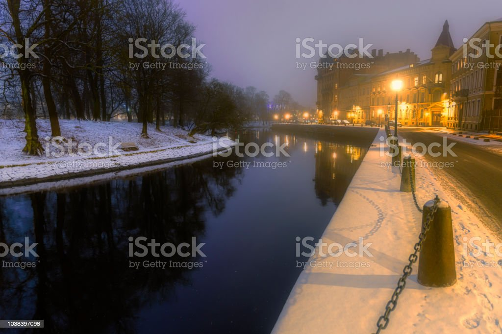 Winter night in Sweden stock photo