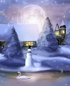 Snowy and peaceful christmas time landscape
