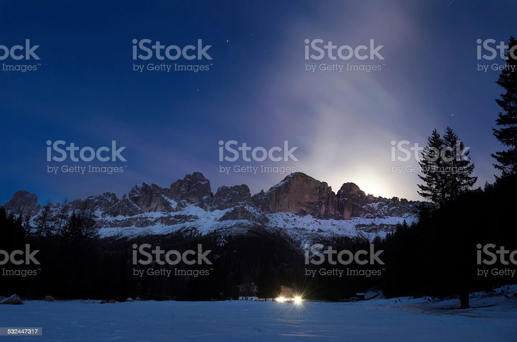 Winter Night - Moon Rising stock photo