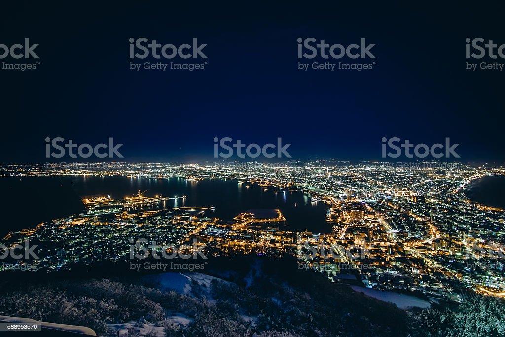 Winter Night View of Hakodate harbor stock photo