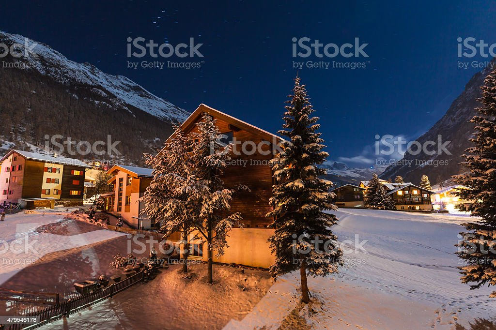 Winter night view of the tasch valley stock photo