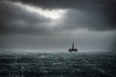 The Ocean Nomad rigg, during a winter storm on the North Sea.