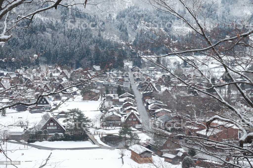 Winter Of Shirakawago with snow falling , Japan stock photo