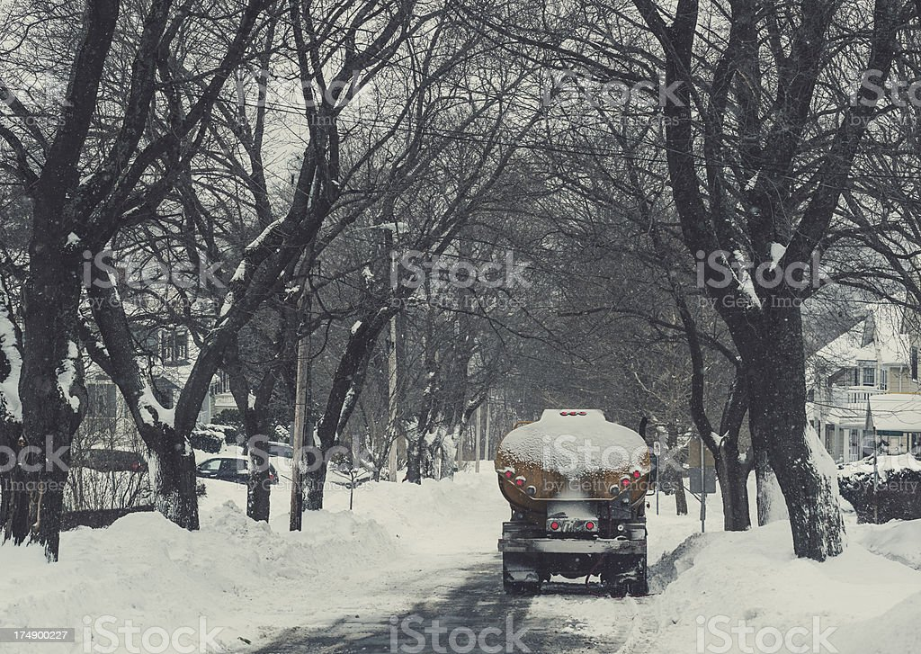 Winter Oil Delivery royalty-free stock photo