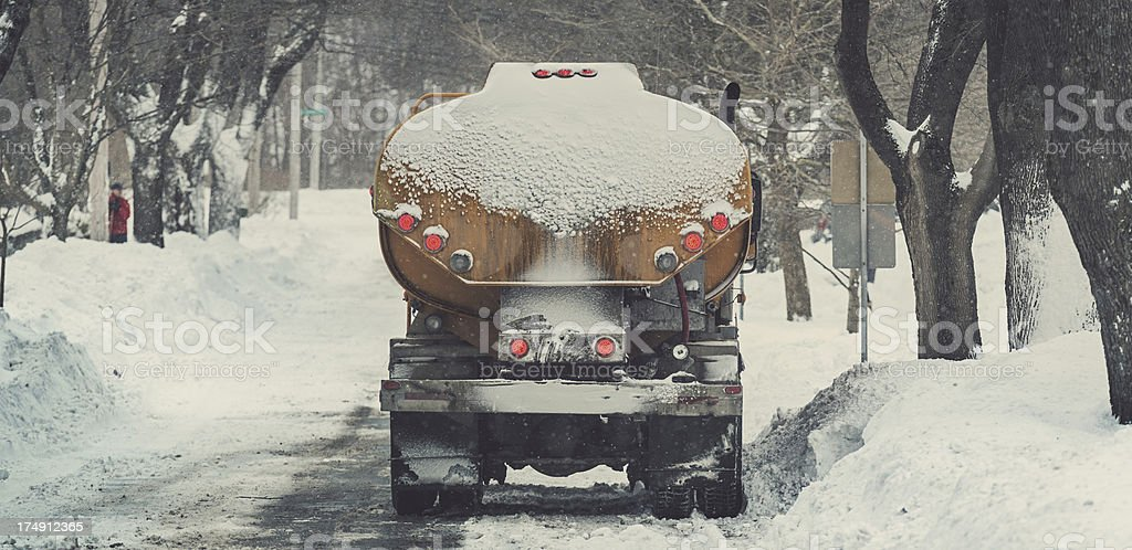 Winter Oil Delivery stock photo